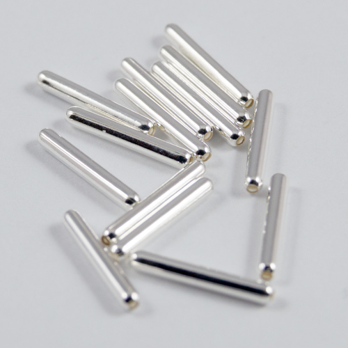 Silver plated tube beads 10x1.5mm