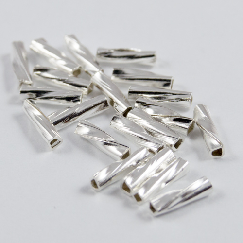 Sterling silver plated twisted beads 6x1.5mm