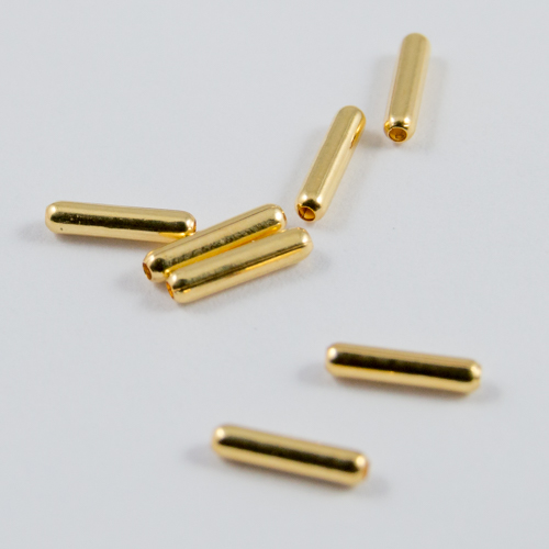 Gilt tube beads 6.5x1.5mm