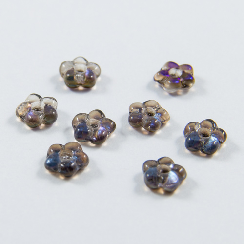 PF06. Irisdecent azur blue flower beads 5mm