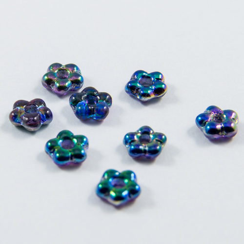 PF09. Iridescent blue crystal flower beads 5mm