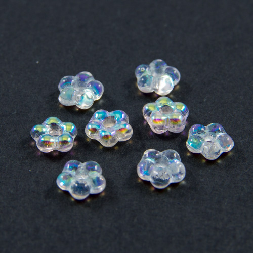 PF02. Iridescent crystal flower beads 5mm