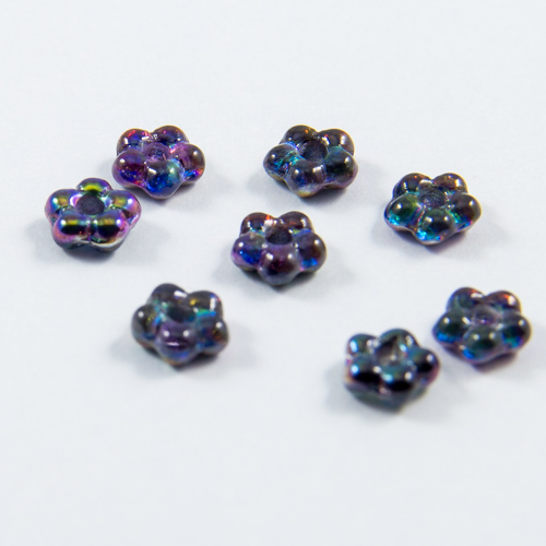 PF10. Iridescent amethyst crystal flower beads 5mm