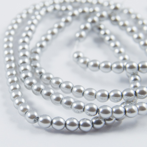 PR03. Round bead shiny light grey 3mm