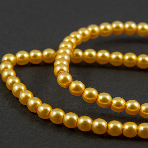 PR45. Round bead shiny light gold 3mm